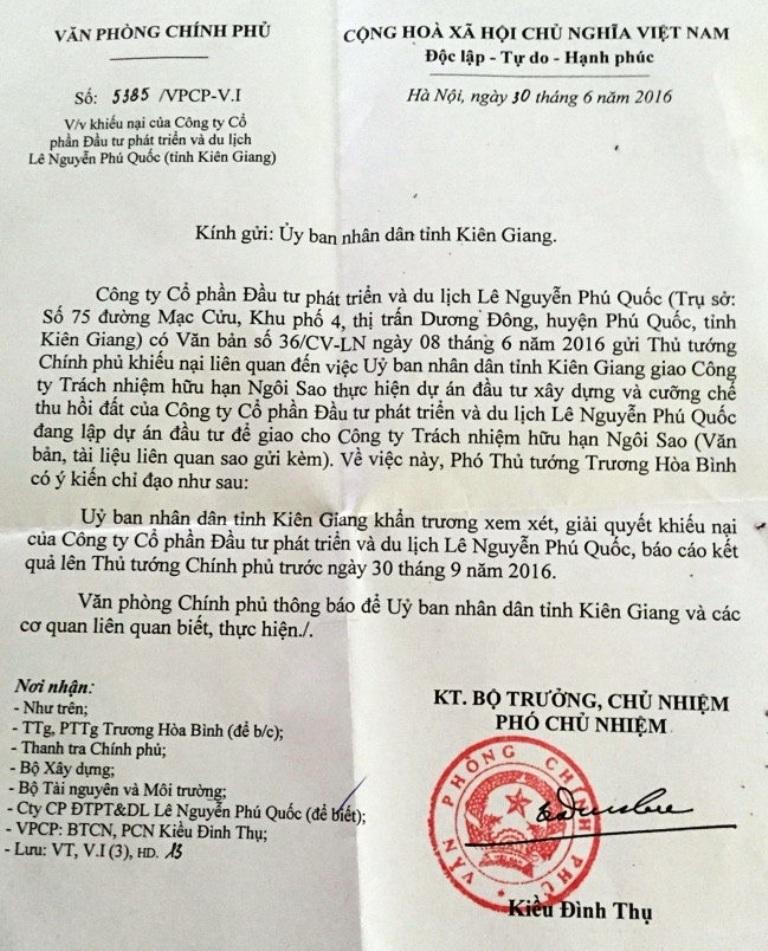 Công văn của Văn phòng Chính phủ, truyền đạt ký kiến chỉ đạo của Phó Thủ tướng Trương Hòa Bình về việc, chỉ đạo UBND tỉnh Kiên Giang khẩn trương xem xét giải quyết khiếu nại cho Công ty Lê Nguyễn Phú Quốc và báo cáo Thủ tướng trước ngày 30/9