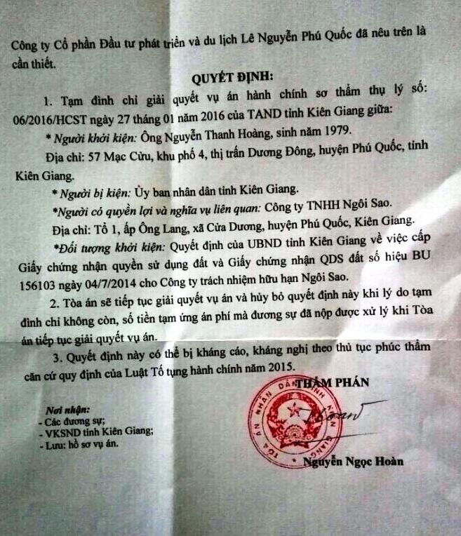 Tước đất của dân giao cho doanh nghiệp: TAND Kiên Giang ra quyết định tạm đình chỉ vụ án - 2
