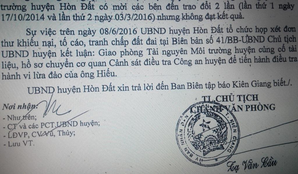 Hành vi lừa đảo, chuyển nhượng mảnh đất của ông Tuấn cho ông Đảnh trái pháp luật đã rõ từ năm 2012, nhưng mãi đến nay, UBND huyện Hòn Đất mới chuyển sang cho cơ quan điều tra hành vi lừa đảo của ông Hiếu?