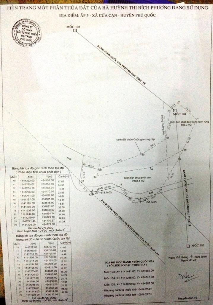 Biên bản đo vẽ thực tế hiện trường mà vợ chồng ông Trần Kiều Hưng thuê một đơn vị đo vễ độc lập thì diện tích ông Hưng vi phạm chỉ trên 500m2 và diện tích chưa phát dọn trên 2.000m2
