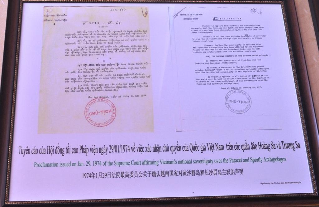 Tuyên cáo của Hội đồng tối cao Pháp viện ngày 29/01/1974 về việc xác nhận chủ quyền Quốc gia Việt Nam trên các quần đảo Hoàng Sa và Trường Sa