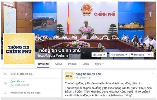 Giao diện facebook của Chính phủ với tên gọi Thông tin Chính phủ.
