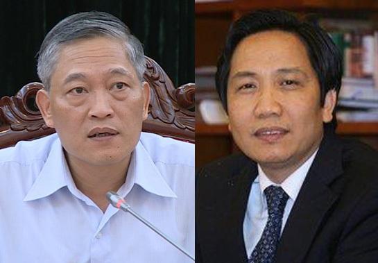 Thứ trưởng Bộ Khoa học - Công nghệ Trần Văn Tùng (trái) và Thứ trưởng Bộ Nội vụ Trần Anh Tuấn được bổ nhiệm lại.