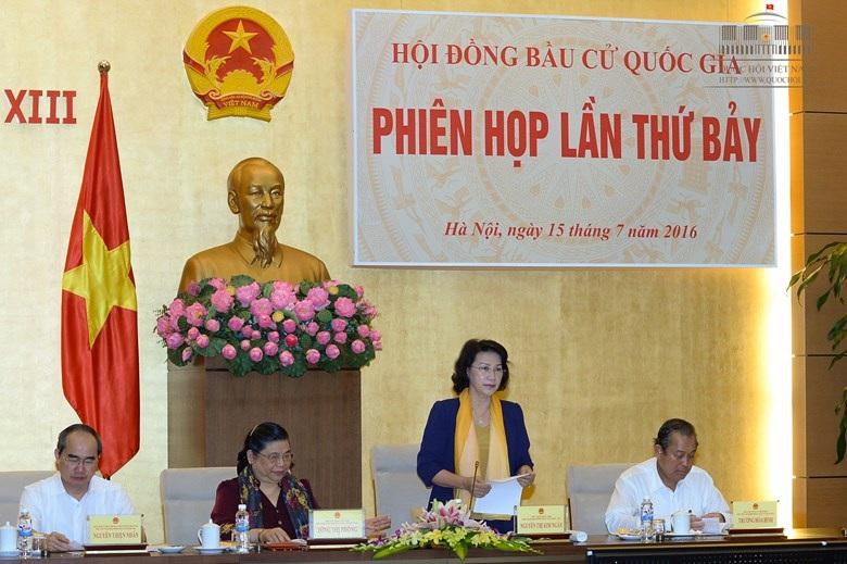 Chủ tịch Quốc hội - Chủ tịch Hội đồng bầu cử quốc gia chủ trì phiên họp thứ 7 của Hội đồng.