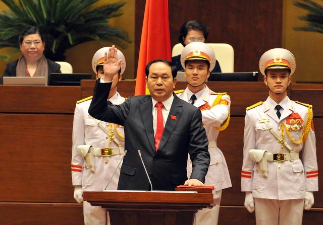 Đại tướng Trần Đại Quang trong lễ tuyên thệ nhậm chức Chủ tịch nước 4 tháng trước.