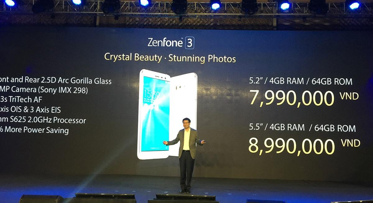 Giá bán của Zenfone 3 và cấu hình
