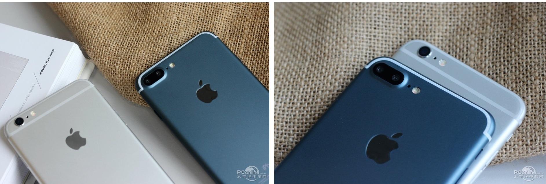 Đặc biệt ở vị trí camera, hình ảnh so sánh với iPhone 6S Plus cho thấy camera của iPhone 7 Pro lồi hơn đôi chút và dài hơn. Tuy nhiên, các góc bo tròn đều tương tự nhau.