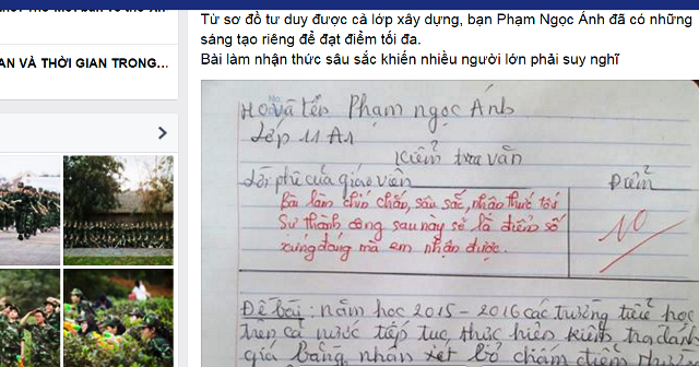 Bài Văn nghị luận của cô học trò lớp 11 có tên Phạm Ngọc Ánh được chia sẻ trên mạng xã hội.