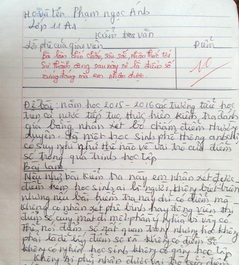 Bài Văn nói về mặt trái của điểm số và hậu quả của việc học vì bằng cấp nhận được điểm 10 từ giáo viên