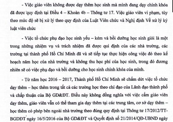 Văn bản của Sở GD-ĐT TPHCM về việc giáo viên không được dạy thêm học sinh mà mình đang dạy chính khóa