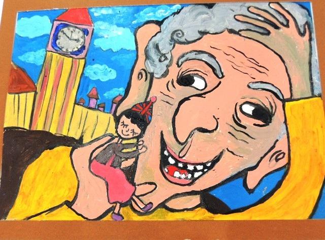 """Bức tranh """"Sophie và BFG cùng nhau đi du lịch ở London"""" đạt giải Nhì cuộc thi của em Đinh Thanh Phong, 8 tuổi, ở Gia Lâm, Hà Nội"""