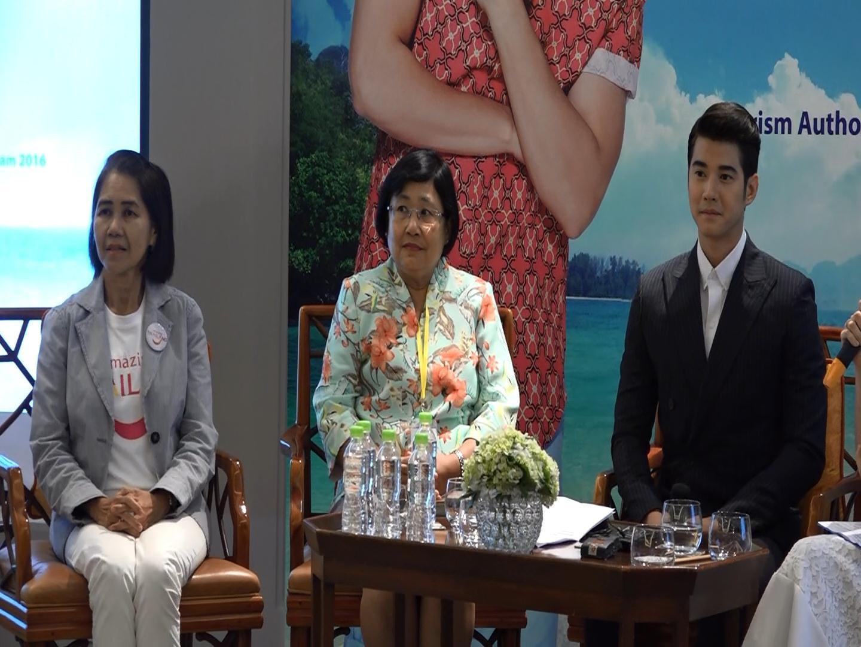 Đại sứ du lịch Mario Maurer và lãnh đạo Tổng cục du lịch Thái Lan tại buổi họp báo.