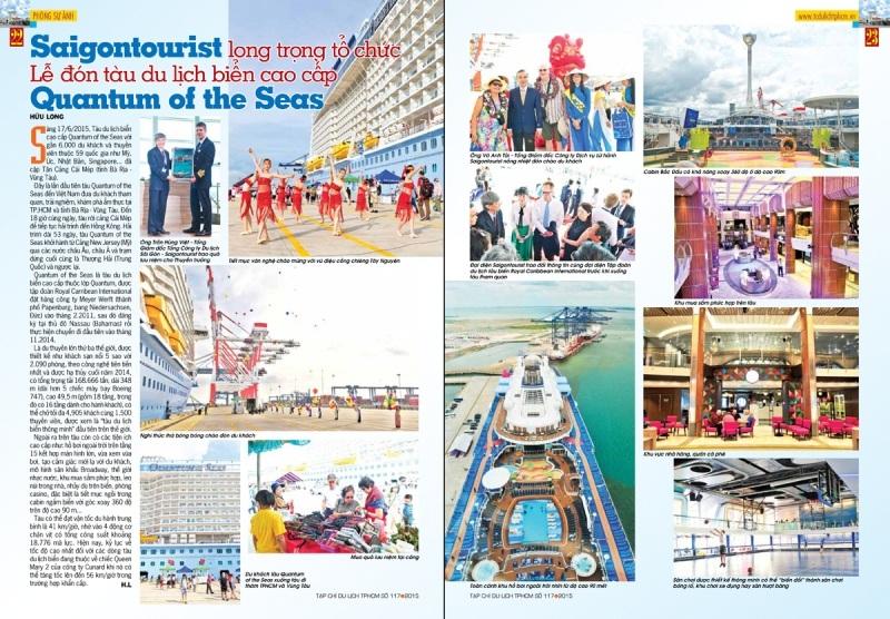 Tác phẩm Saigontourist đón tàu du lịch cao cấp Quantum of the Seas của tác giả Hữu Long, tạp chí Du lịch.
