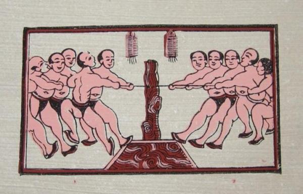 Trò chơi kéo co dân gian của người Việt được in trên tranh Đông Hồ.