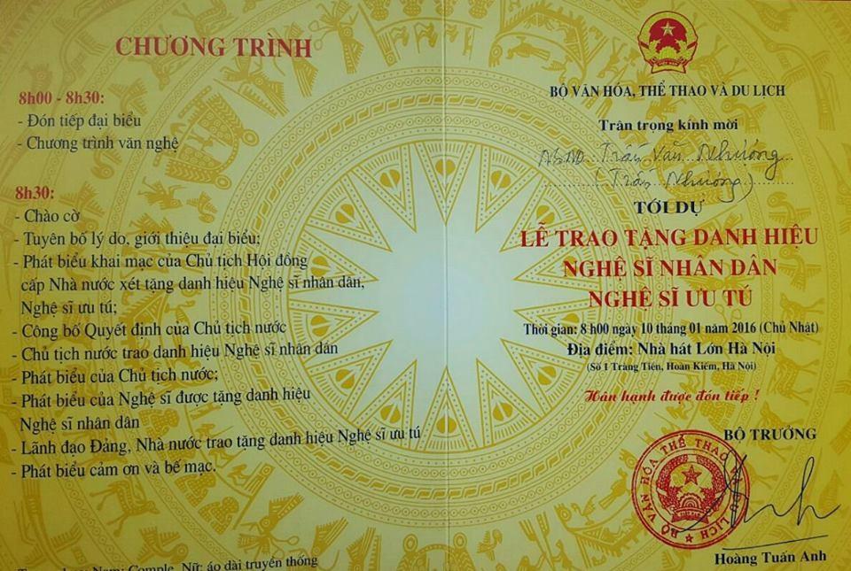 Nghệ sỹ Trần Nhượng cũng được phong tặng danh hiệu NSND đợt này. Ảnh: T.N