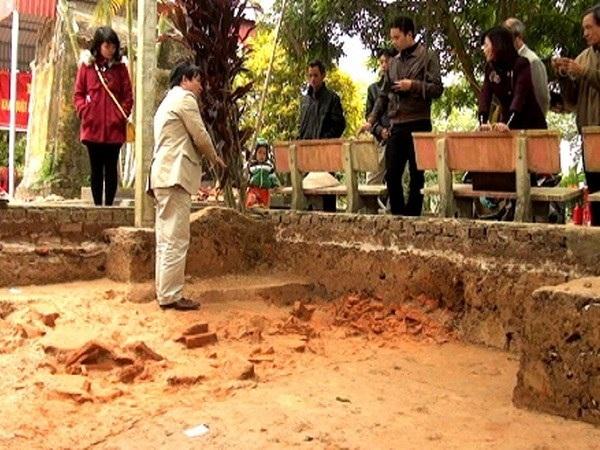 Điểm khai quật Hành cung Lỗ Giang ở Thái Bình. Ảnh: TL.