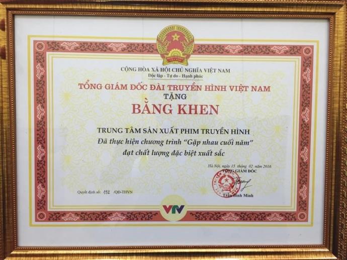 Bằng khen do ông Trần Bình Minh - TGĐ VTV ký vào ngày 15/2.