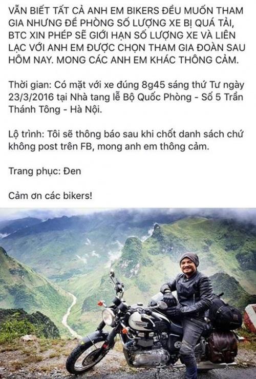 Lời chia sẻ của MC Anh Tuấn về việc đoàn bikers sẽ tiễn đưa ca sỹ Trần Lập bằng motor từ Nhà tang lễ về nhà riêng.