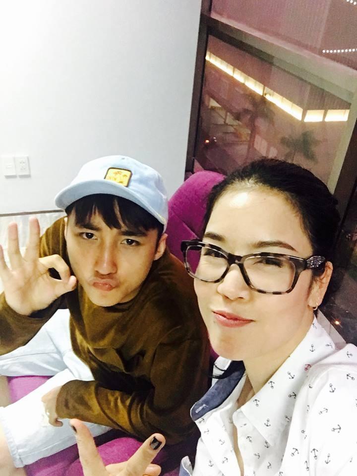 Bức ảnh Thu Phương chụp chung với Sơn Tùng được chị đăng kèm đoạn viết. Ảnh: FBNV.