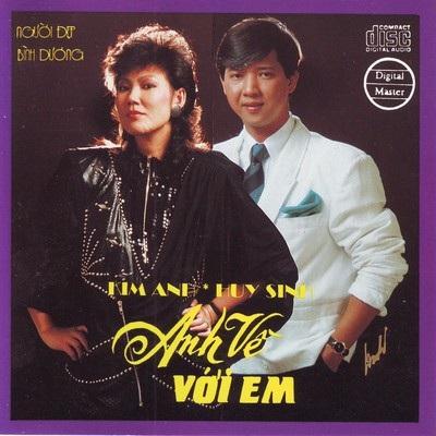 Kim Anh trên bìa đĩa Anh về với em, sản phẩm kết hợp với Huy Sinh. Ảnh: TL.