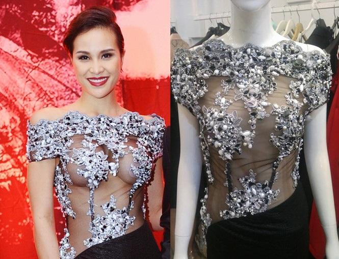 Cận cảnh chiếc váy của Phương Mai do NTK Hoàng Minh Hà thiết kế khiến dư luận xôn xao.