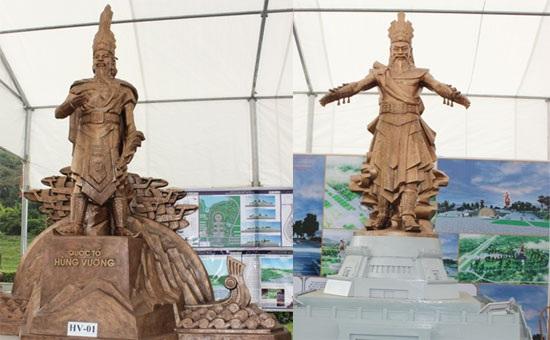 Hai trong ba mẫu phác thảo tượng đài vua Hùng được chọn lấy ý kiến của người dân. Ảnh: TL.