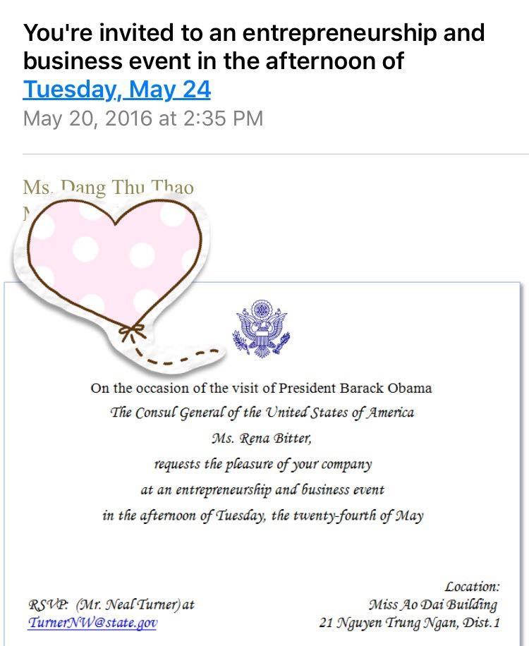 Thư mời Hoa hậu Thu Thảo tham gia một sự kiện khiến cô quyết định hủy chuyến đi nước ngoài để gặp thần tượng Obama.