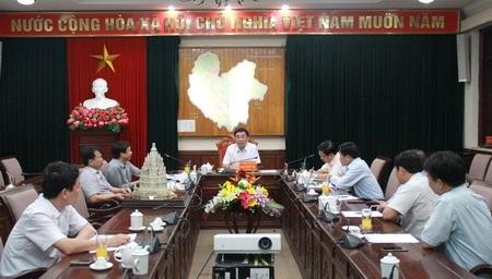 Toàn cảnh cuộc họp giữa lãnh đạo tỉnh Thái Nguyên với doanh nghiệp xây dựng chùa Tháp. Ảnh: thainguyen.gov.vn