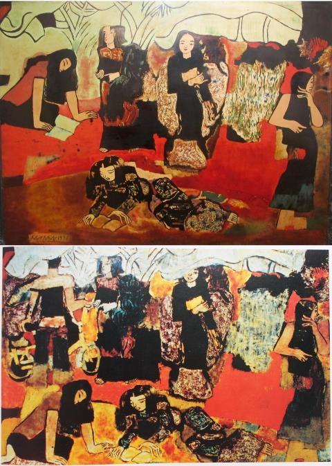 Bức tranh Vườn chuối của danh hoạ Nguyễn Sáng. Bức trên trưng bày tại triển lãm, bức dưới được cho là bức gốc. Ảnh: TTVH.