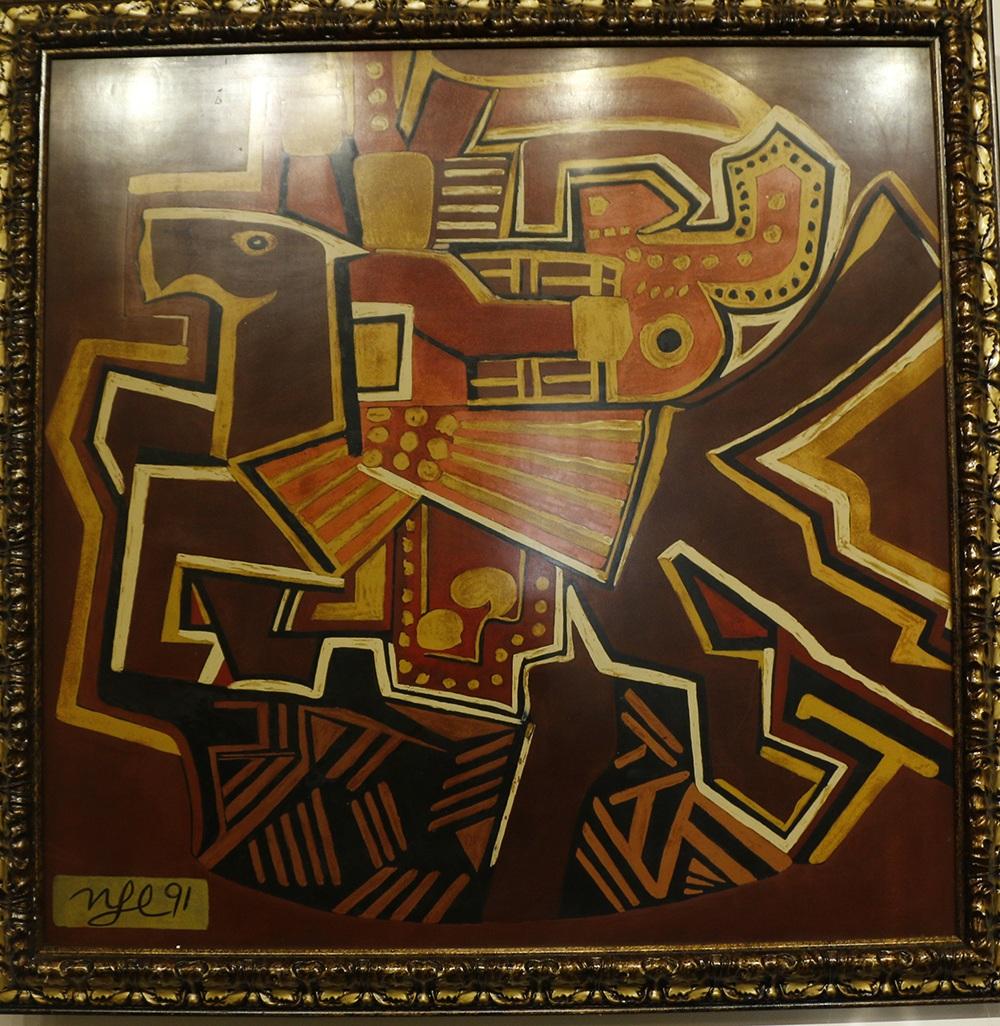 Bức Ngựa của cố danh họa Nguyễn Tư Nghiêm trong triển lãm. Ảnh: BC.