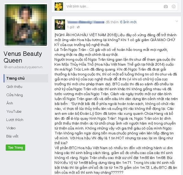 Lời tố Lê Trần Ngọc Trân trên một trang Facebook. Ảnh: TL.