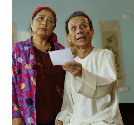 Nghệ sĩ Kim Xuyến trong một phim đóng chung với cố nghệ sĩ Văn Hiệp. Ảnh: TL.