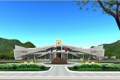 Phối cảnh tòa nhà liên hợp, cũng là Quốc môn tại Cửa khẩu Quốc tế Cầu Treo hết sức hoành tráng.
