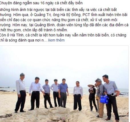 Dòng trạng thái bức xúc về sự tàng hình của lãnh đạo Hà Tĩnh trong vụ cá chết thu hút sự quan tâm rất lớn của dư luận.