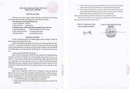 Nội dung biên bản Formosa xử lý Công ty Môi trường Kỳ Anh bán cả rác thải vốn phải đưa đến điểm tập kết để xử lý cho người dân.