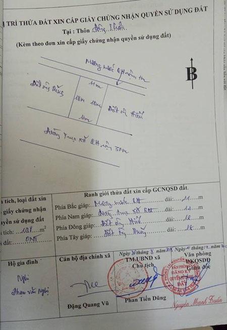 ... và giấy chứng nhận quyền sử dụng đất của gia đình anh Nghị tại Phòng TN&MT huyện Lộc Hà. Tuy nhiên, chữ ký của anh Nghị trong đơn và giấy chứng nhận quyền sử dụng đất nhìn khác nhau hoàn toàn.