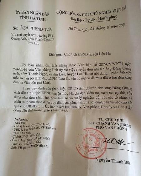 Công văn chỉ đạo của UBND tỉnh Hà Tĩnh yêu cầu huyện Lộc Hà báo cáo sự việc trước ngày 15/8.