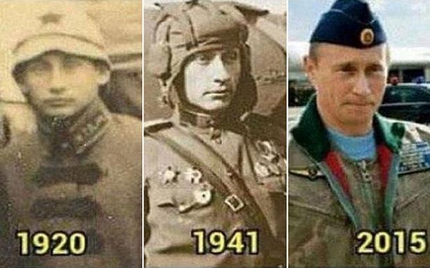 Hai bức ảnh chụp hai quân nhân Nga giống hệt Tổng thống Putin. (Ảnh: RT)