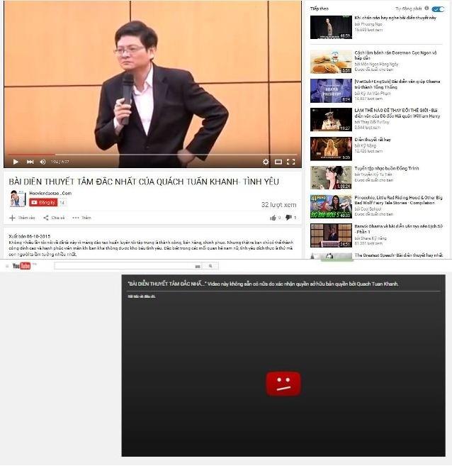 Clip này được đăng tải từ ngày 6/10 và đến nay đã được ông Quách Tuấn khanh xác nhận quyền sở hữu và yêu cầu youtube xóa