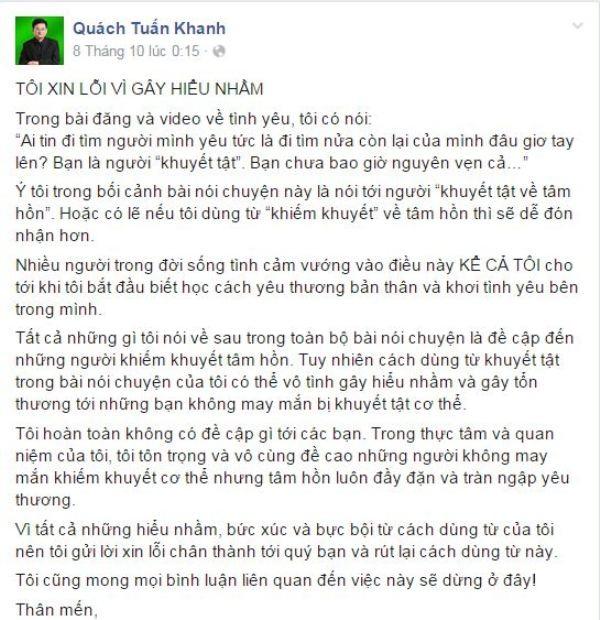 Lời xin lỗi của ông Quách Tuấn Khanh