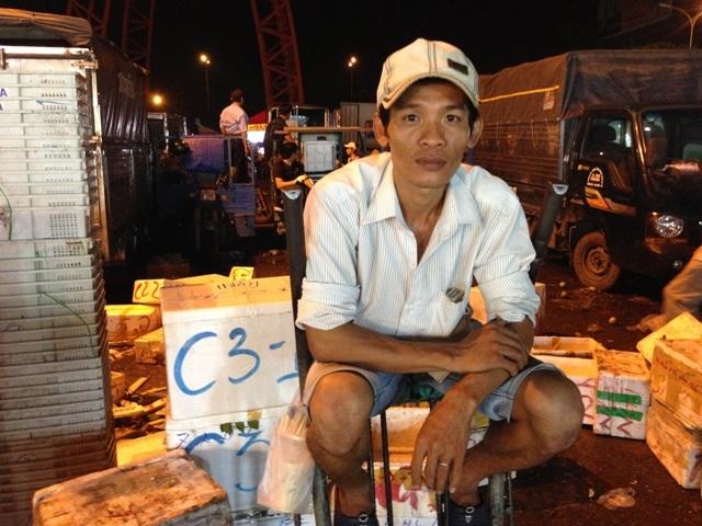 Anh Trần Văn Mệnh, bốc vác thuê tại chợ nông sản Thủ Đức