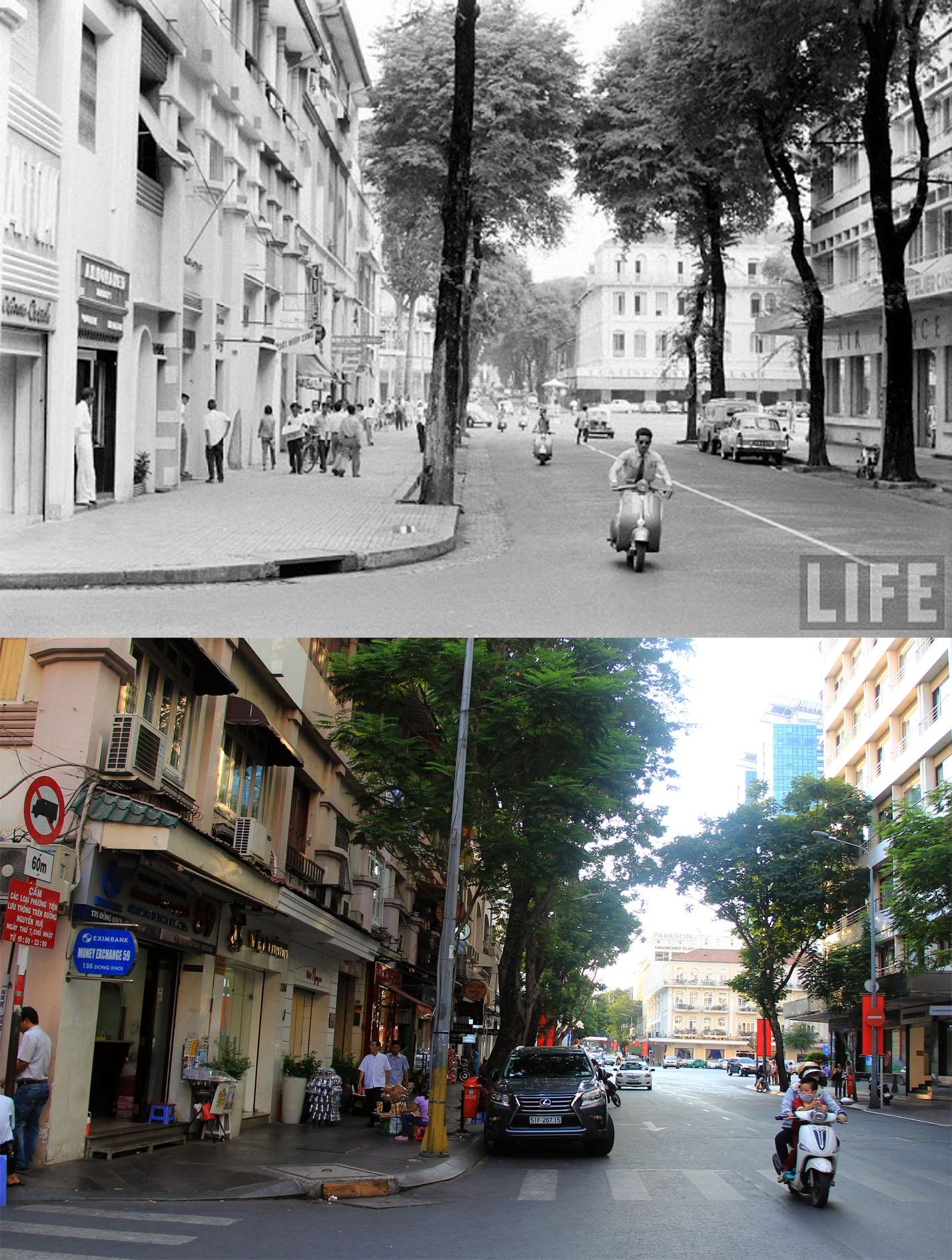 Đường Đồng Khởi hiện dài 630 mét, bắt đầu từ Công trường Công xã Paris, kết thúc tại vị trí giao cắt với đường Tôn Đức Thắng. Đây là 1 trong những con đường còn lưu lại một vài nét cổ xưa và riêng biệt của một đô thị Sài Gòn cổ kính, nhiều công trình có từ thời Pháp thuộc trên đường này vẫn còn tồn tại đến nay.