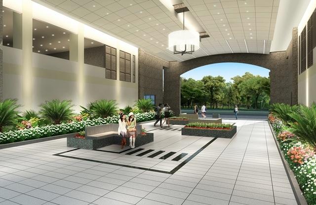 Ngoại quan và các không gian công cộng bên torng tòa nhà Nam Phúc – Le Jardin được thiết kế và đâu tư sang trọng như những khách sạn hàng sang.