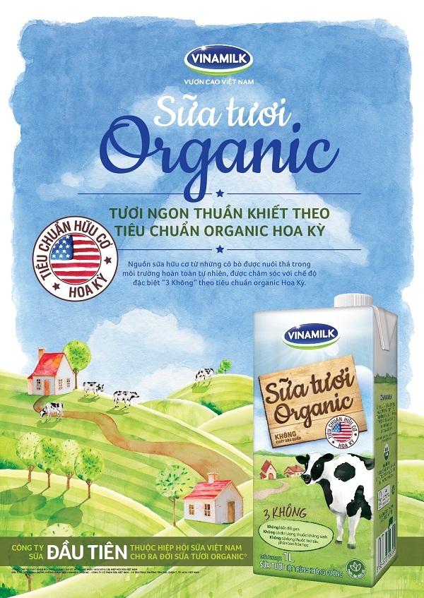 Sữa tươi Vinamilk Organic được sản xuất với nguồn sữa tươi hữu cơ