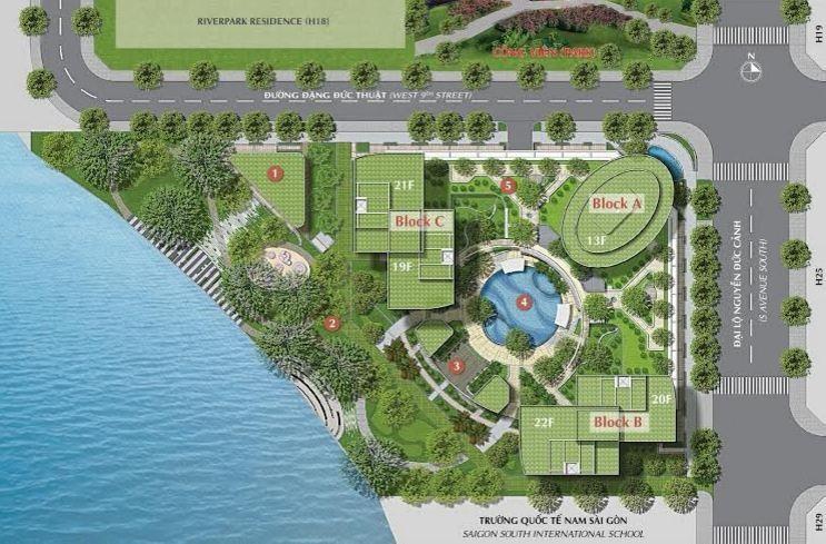 Mật độ xây dựng chỉ 48%, hệ số sử dụng đất chỉ 3,57, không gian sống của Riverpark Premier chủ yếu là thiên nhiên và tiện ích phong phú