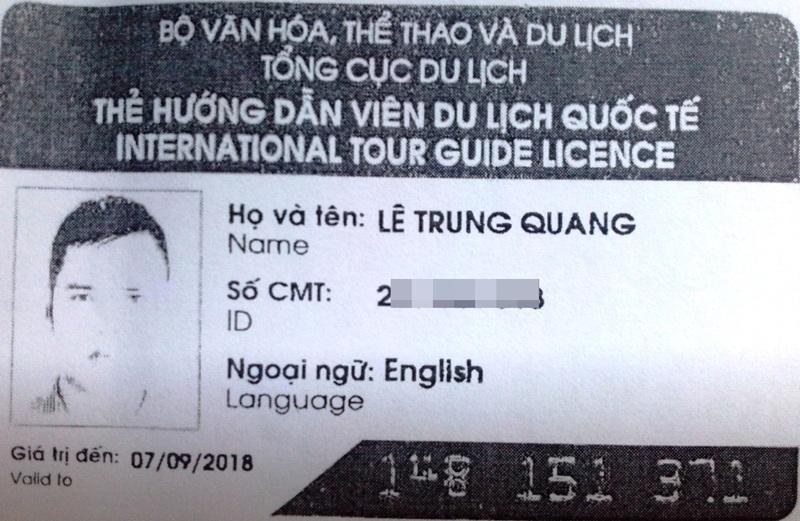 Thẻ hướng dẫn viên của ông Lê Trung Quang