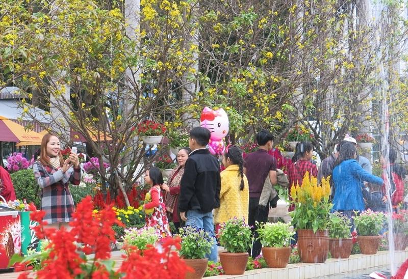 Người dân và du khách rộn ràng đi chơi Tết ở Hội hoa xuân Đà Nẵng