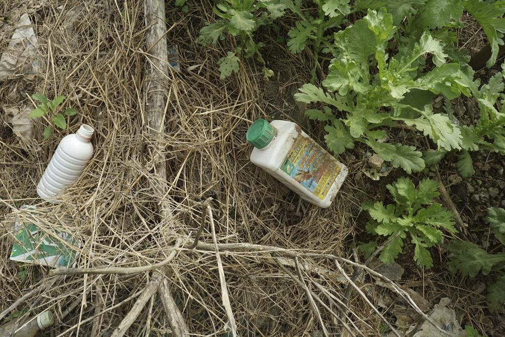 Hiện tượng vứt vỏ bao bì thuốc BVTV cũng rất phổ biến, trong ảnh là vỏ loại thuốc diệt cỏ cùng nhiều loại khác sau khi sử dụng bị vứt bỏ bên luống rau.