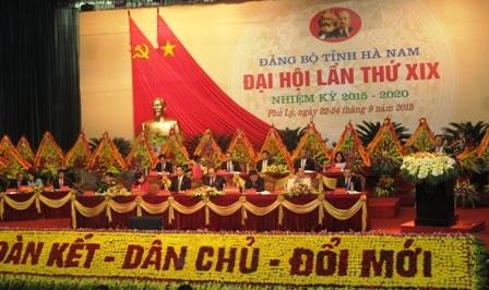 Đại hội Đại biểu Đảng bộ tỉnh Hà Nam khóa XIX, nhiệm kỳ 2015 - 2020.