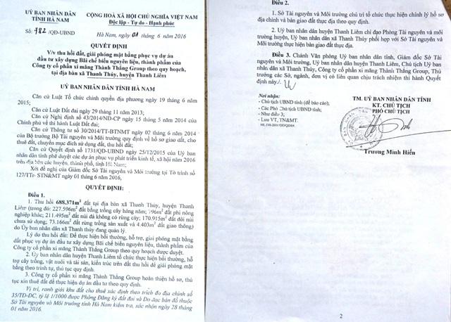 Quyết định 782 ngày 01/06/2016 cũng về việc thu hồi, GPMB do ông Trương Minh Hiến, Phó Chủ tịch UBND tỉnh Hà Nam ký